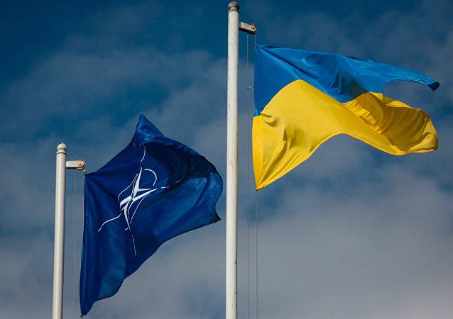 Drapeaux ukrainien et celui de l'Otan