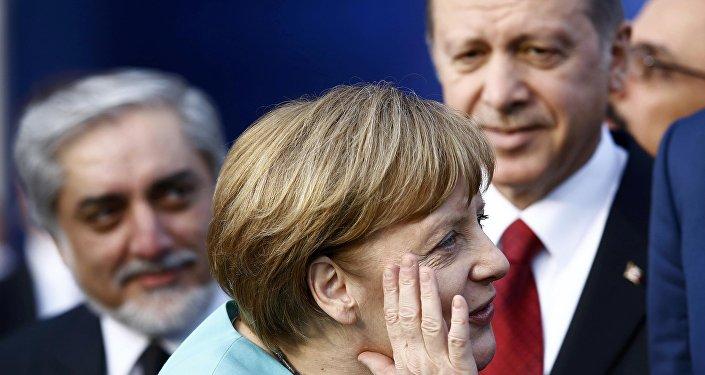 La chancelière allemande Angela Merkel et le président turc Recep Tayyip Erdogan. Archive photo