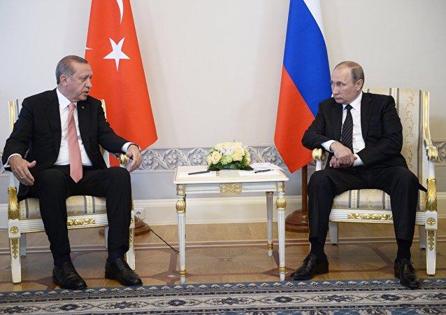 Le président turc Recep Tayyip Erdogan rencontre son homologue russe Vladimir Poutine à Saint-Pétersbourg