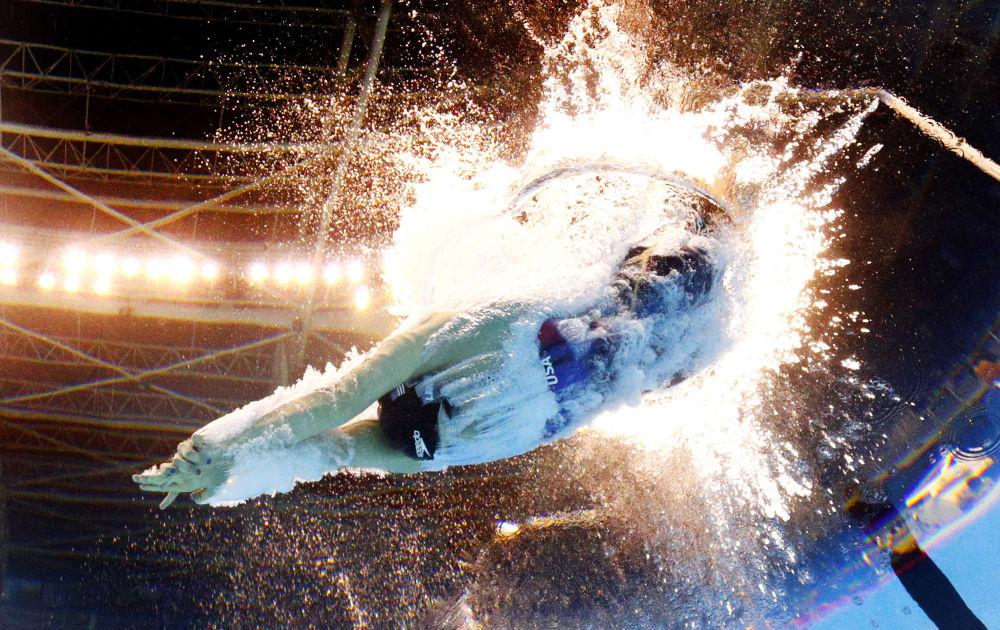 L'Américaine Katie Ledecky dans l'épreuve du 200 mètres nage libre femmes