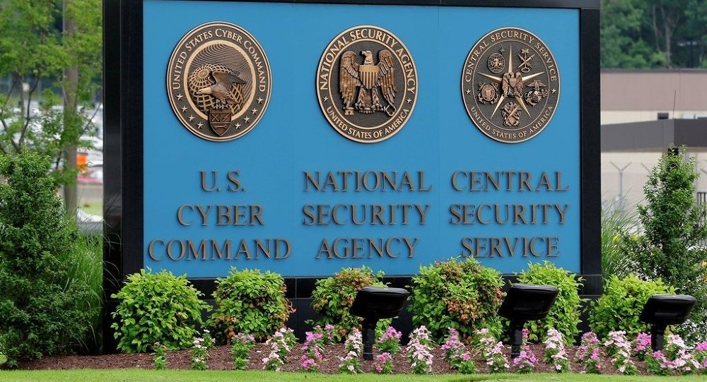 A sign stands outside the National Security Agency (NSA) campus in Fort Meade
