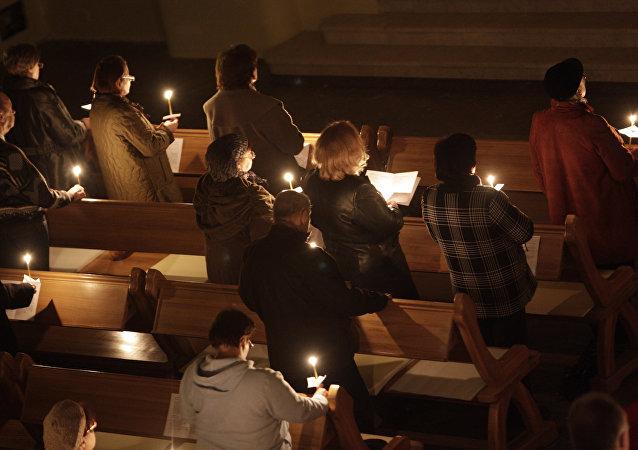 Des fidèles de l'Eglise protestante