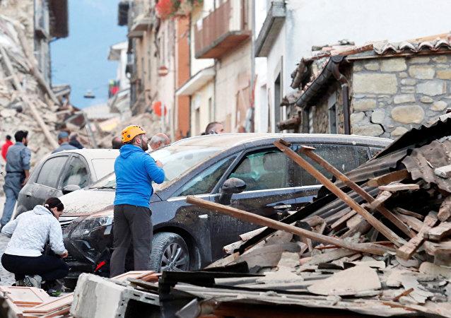 La ville italienne d'Amatrice touchée par un puissant séisme