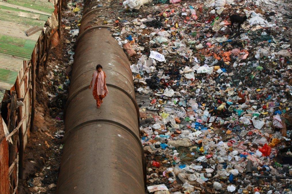 Dharavi, un bidonville situé dans au cœur de l'agglomération de Mumbai en Inde.