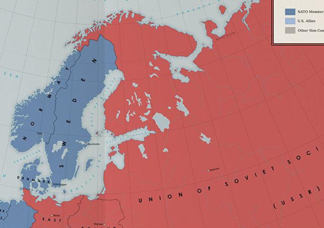 une carte fictive illustrant une version alternative de la guerre froide dans les années 1960