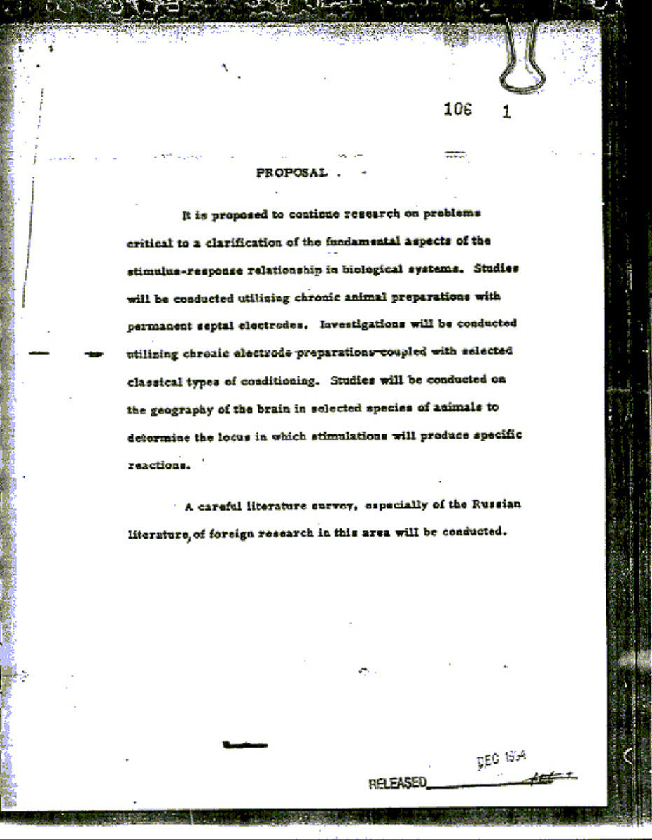 Page d'un document déclassifié de MK-Ultra