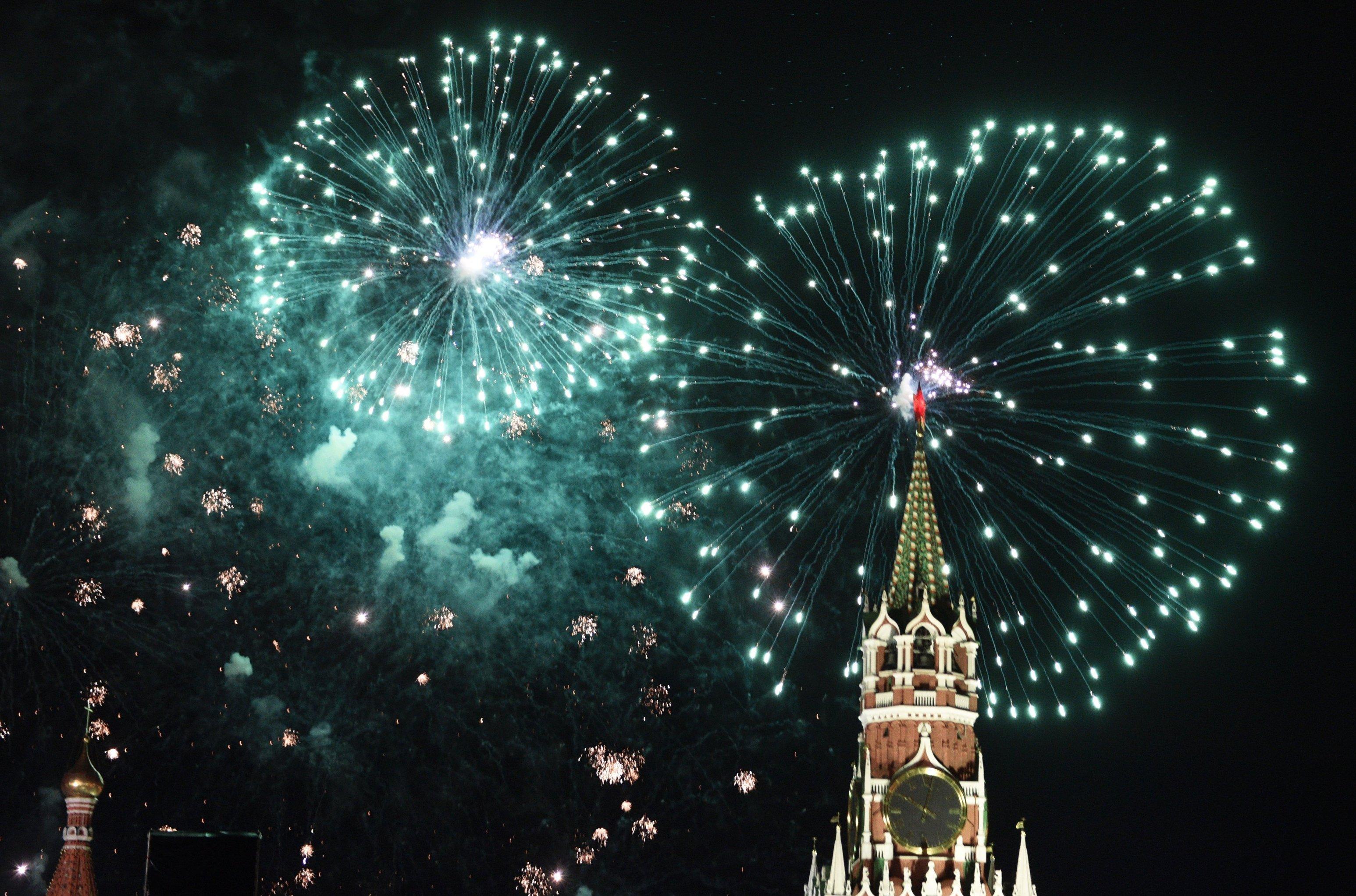 Feux d'artifice dans le ciel de Moscou