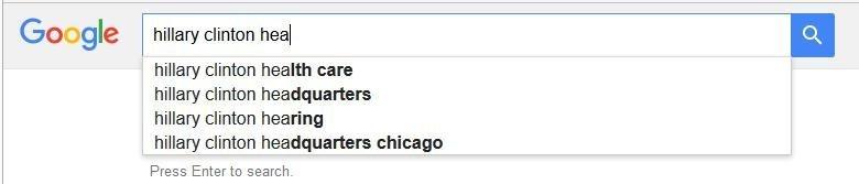 Google cache l'information sur la santé d'Hillary Clinton