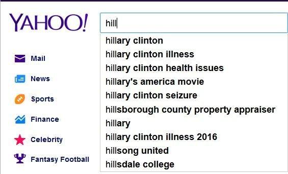 Yahoo reflète les nouvelles tendances concernant la santé d'Hillary Clinton