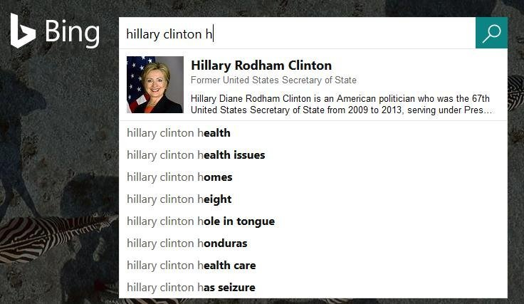 Bing reflète les nouvelles tendances concernant la santé d'Hillary Clinton