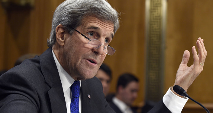 Secretary of State John Kerry testifies on Capitol Hill in Washington, Tuesday, Feb. 23, 2016.