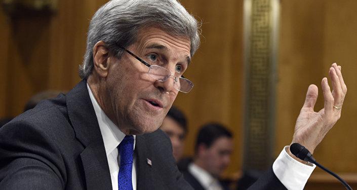 Secretary of State John Kerry testifies on Capitol Hill in Washington, Tuesday, Feb. 23, 2016.