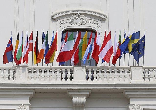 Les drapeaux des pays-membres de l'UE