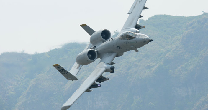 A US Air Force A-10 Thunderbolt II, originally designed to counter Soviet armor on the European battlefield during the Cold War.