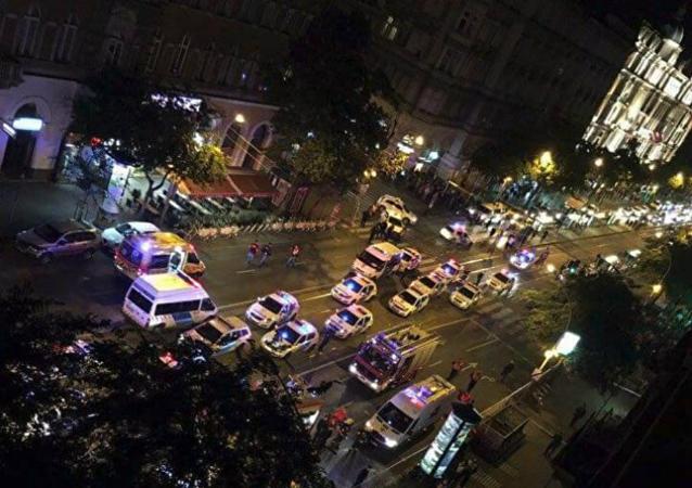 Le lieu de l'explosion à Budapest