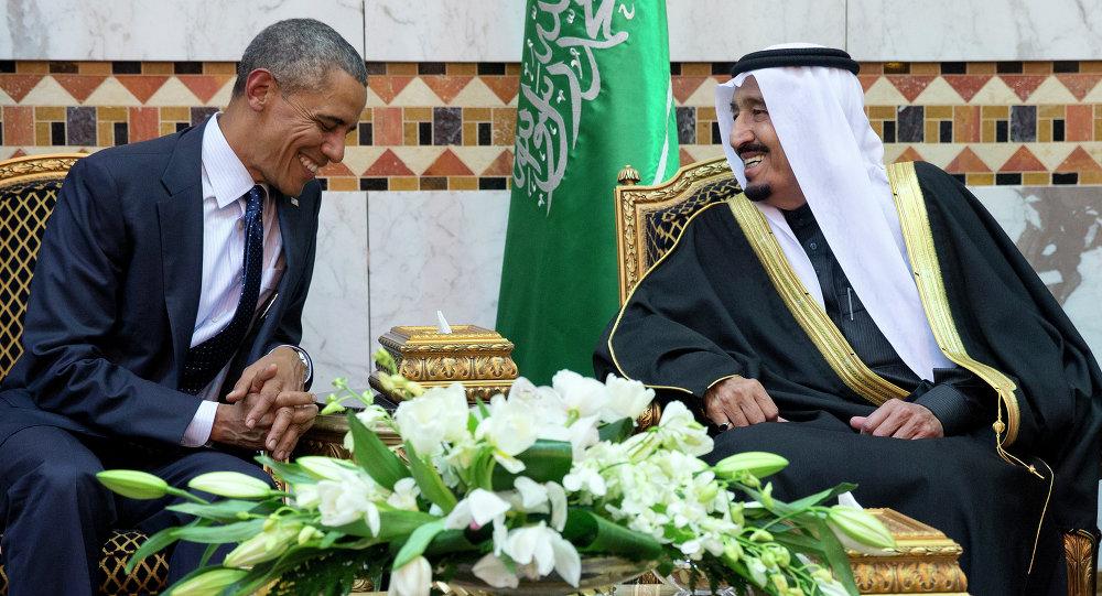 Le Président américain Barack Obama avec le roi Salmane ben Abdelaziz Al Saoud à Riyad