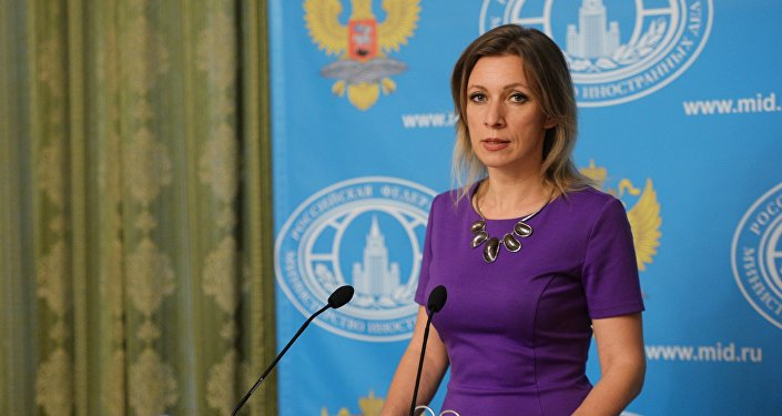 Russian Foreign Ministry spokeswoman Zakharova during a weekly press briefing