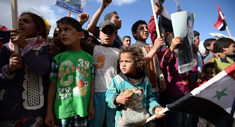 Distribution de l'aide humanitaire russe en Syrie