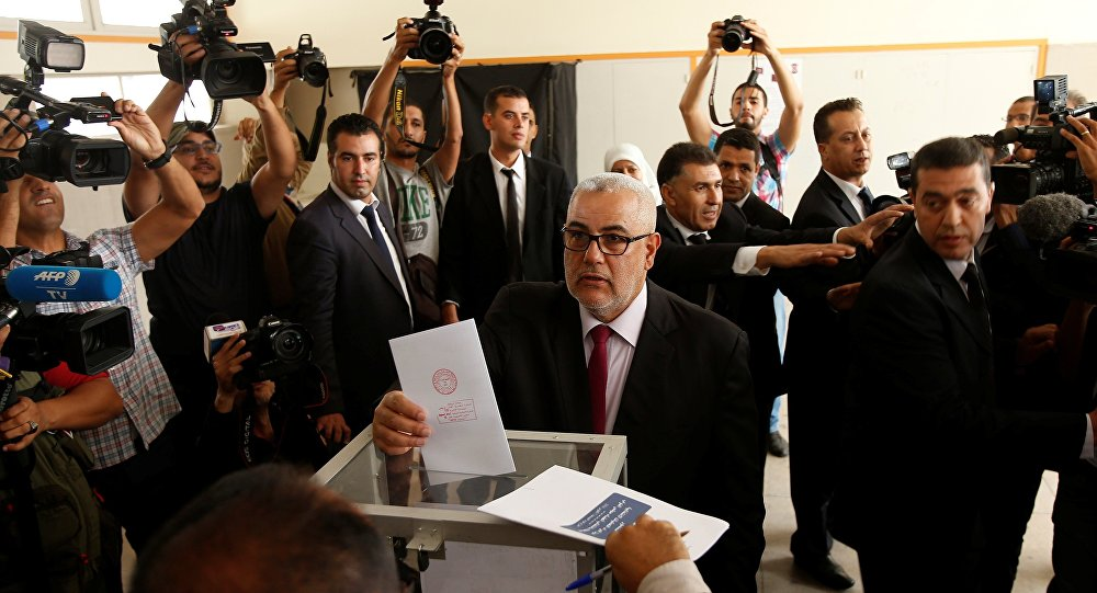 Abdelillah Benkirane, secretary-general of the Islamist Justice and Development party (PJD), casts his ballot at a polling station in Rabat October 7, 2016.