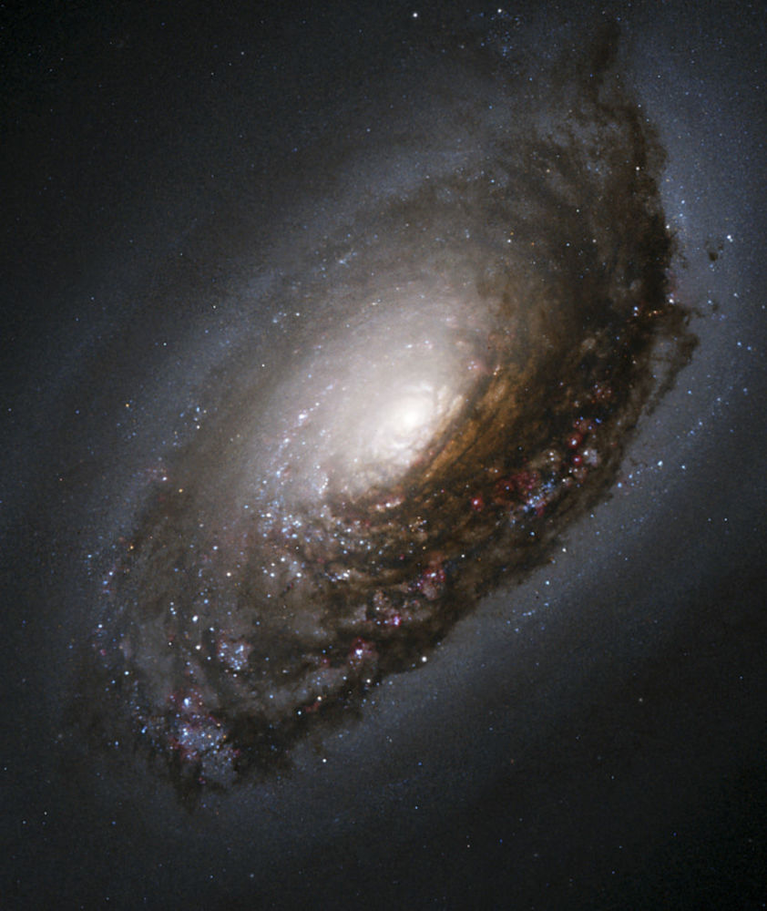 La galaxie de la Beauté endormie, également connue sous le nom de galaxie de l'œil noir, est située dans la constellation de la Chevelure de Bérénice