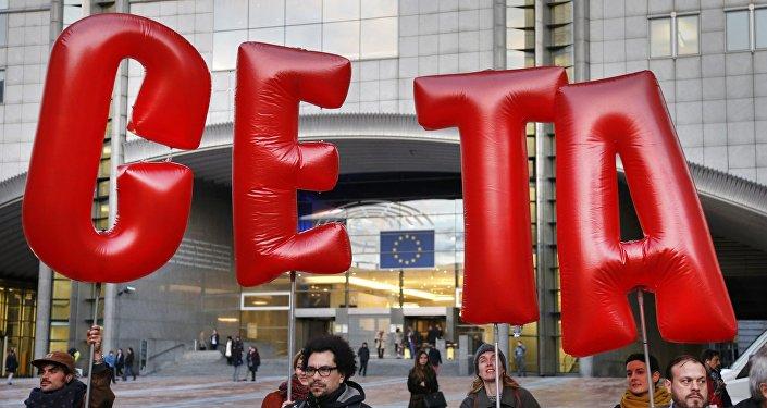 Protestdemonstration gegen CETA in Brüssel