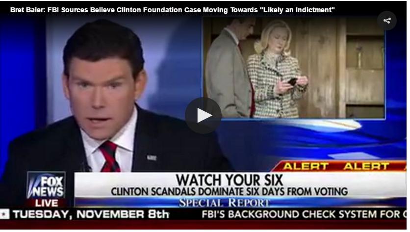 « A l'exception d'une quelconque obstruction », le FBI lancera un acte d'accusation contre la candidate démocrate à la présidentielle, a déclaré le journaliste de Fox News Bret Baier, citant des sources anonymes au sein du FBI.