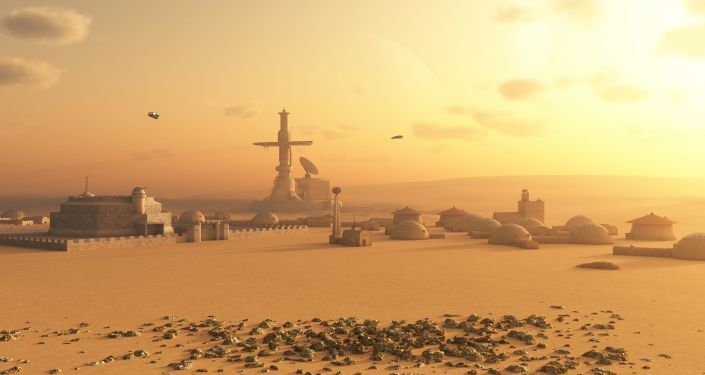 Base sur Mars. Image d'illustration