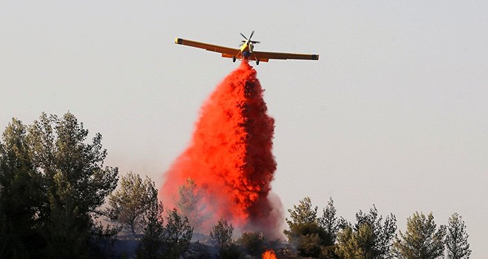 A firefighting plane drops fire retardant during a wildfire, near the communal settlement of Nataf, close to Jerusalem November 23, 2016. Picture taken November 23, 2016.