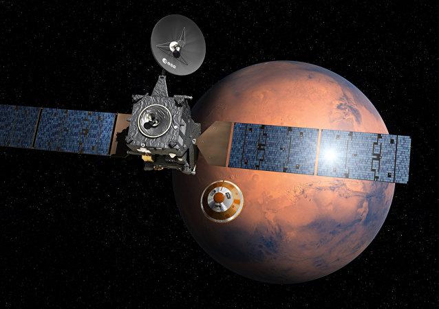 Atterrissage du module Schiaparelli sur Mars (vue d'artiste)