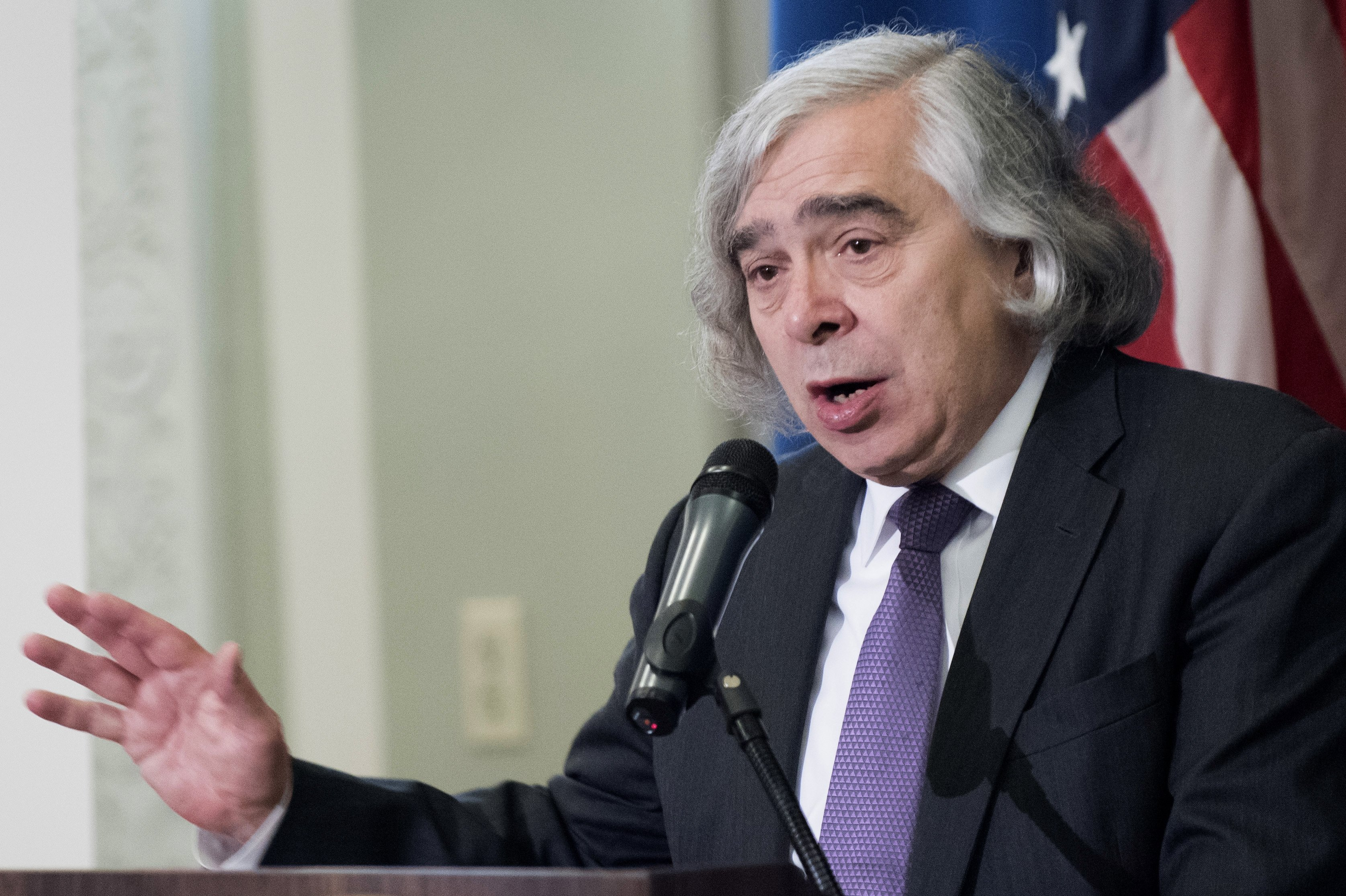 Energy Secretary Ernest Moniz speaks at a signing ceremony for a memorandum of agreement to establish the Manhattan Project National Historic Park, Tuesday, Nov. 10, 2015, at the Interior Department in Washington