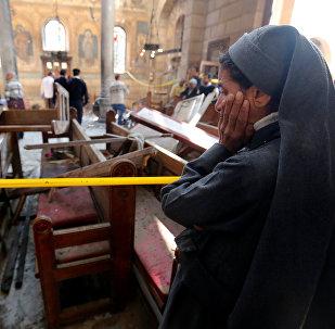 La cathédrale Saint-Marc du Caire suite à une attentat à la bombe