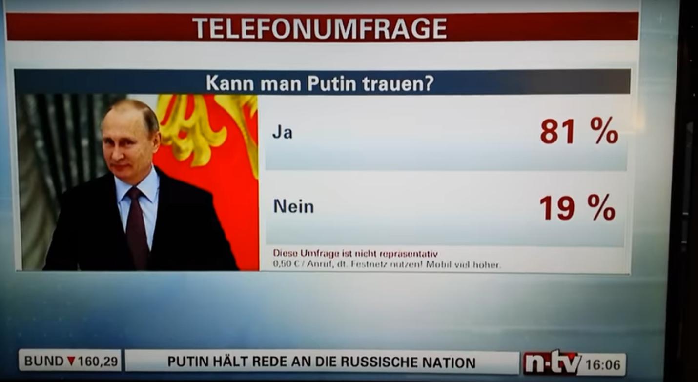 Un sondage sur la confiance à Vladimir Poutine à la TV allemande