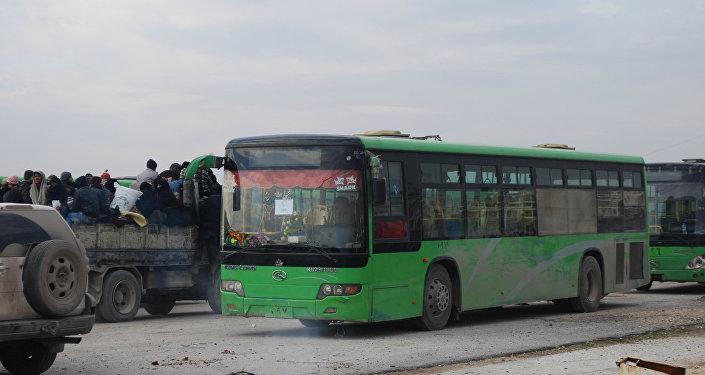 Алеппо, автобусы с боевиками, 16 декабря 2016