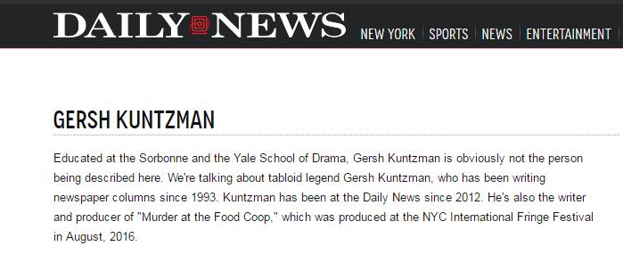 New York Daily News sur le journaliste américain Gersh Kuntzman