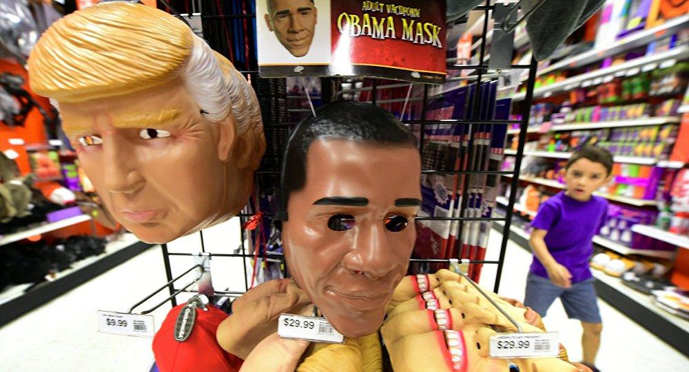 Masques de Trump et d'Obama