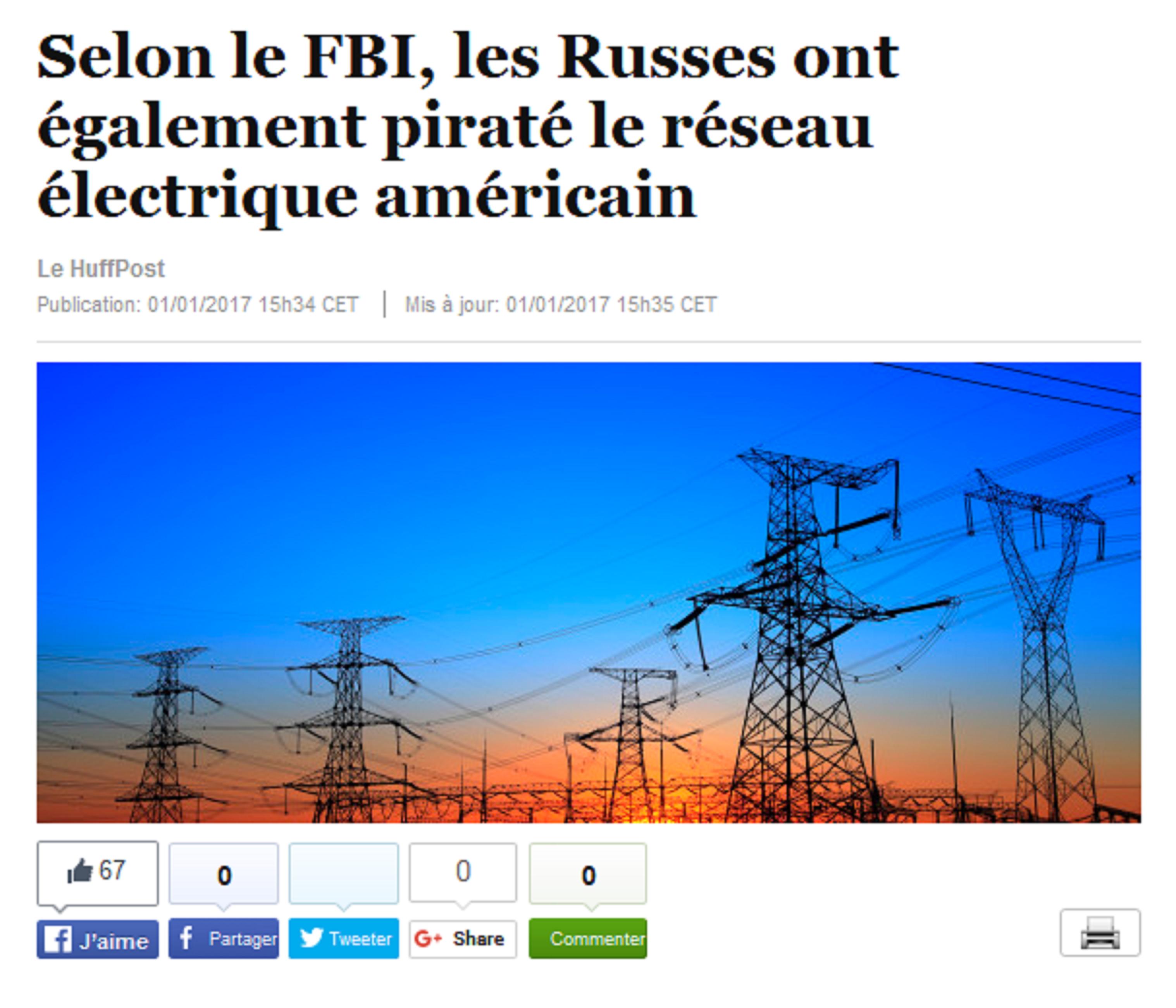 L'article du Huffington Post sur le prétendu piratage russe du réseau électrique américain