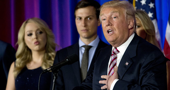 Donald Trump avec son gendre Jared Kushner et sa fille Tiffany