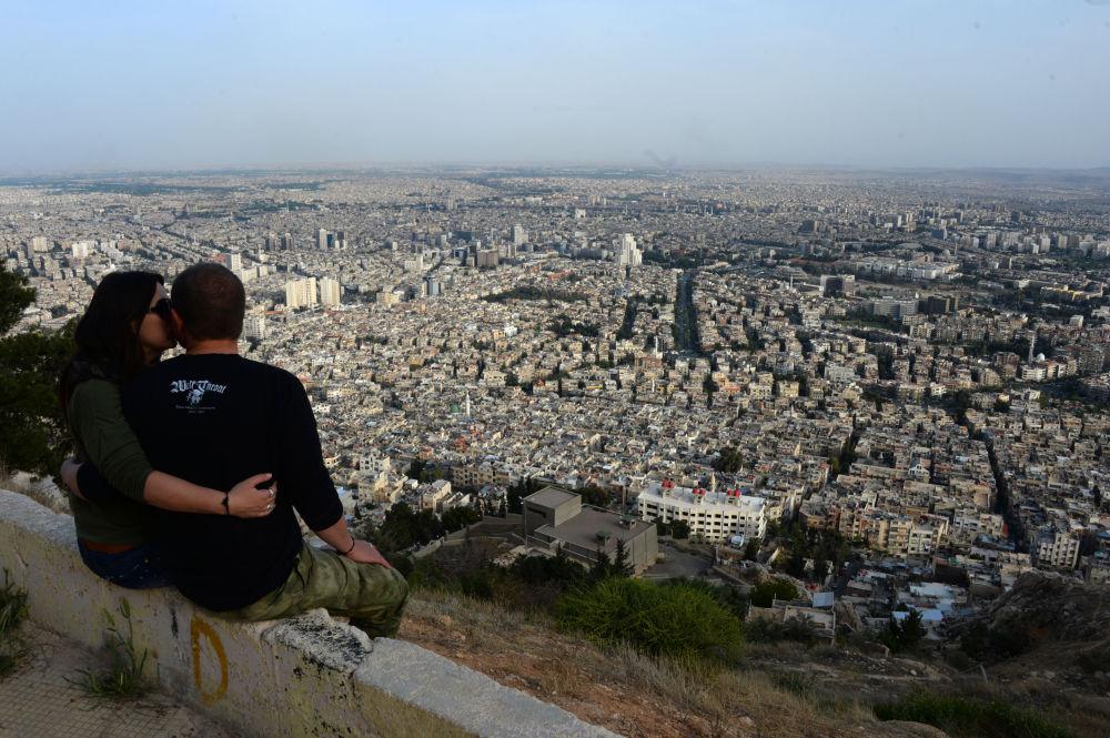 Vue sur Damas depuis le Mont Cassion, le 5 avril 2016