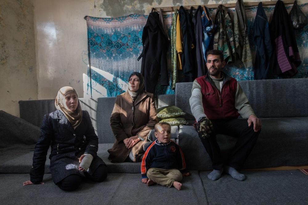 Un camp de réfugiés situé dans une école de Damas, le 11 févier 2016