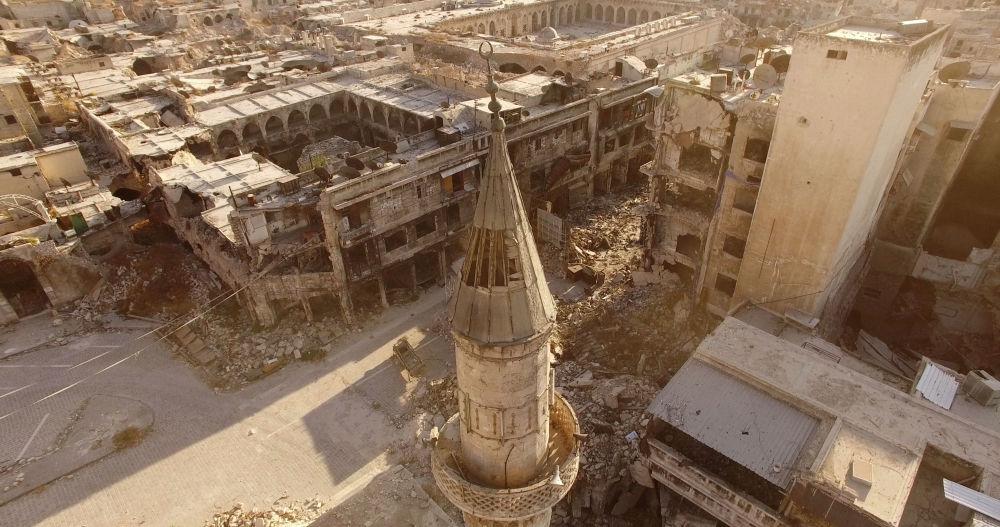 Les quartiers d'Alep-Est contrôlés par les terroristes. Syrie, le 3 septembre 2016