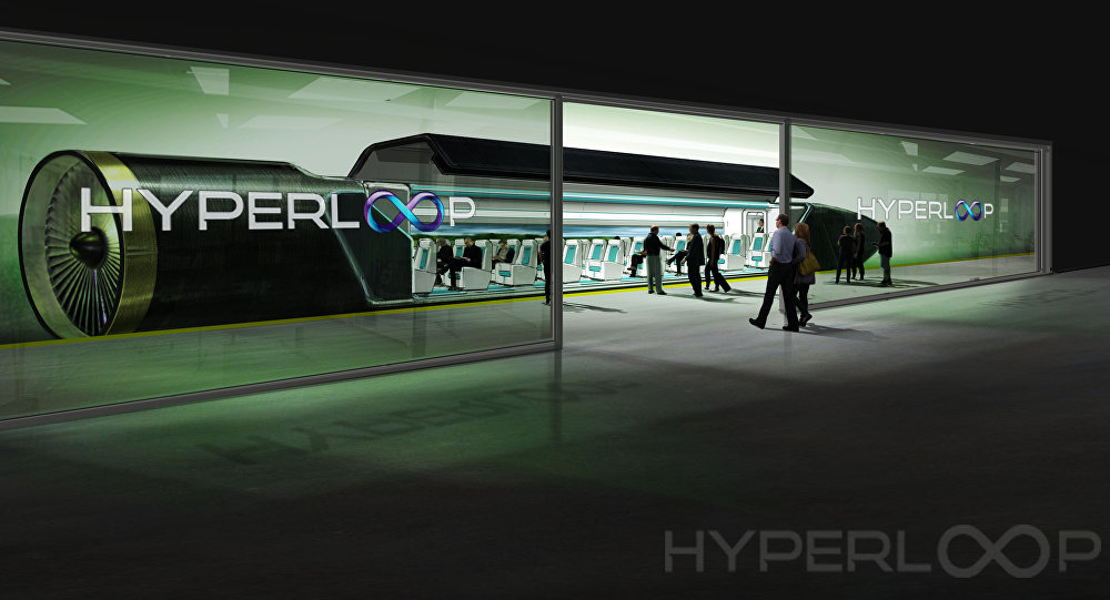 An image showing passengers boarding the Hyperloop transportation system.