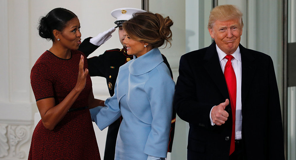 Michelle Obama, Melania Trump et Donald Trump
