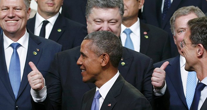 Barack Obama et Piotr Porochenko. Archive photo