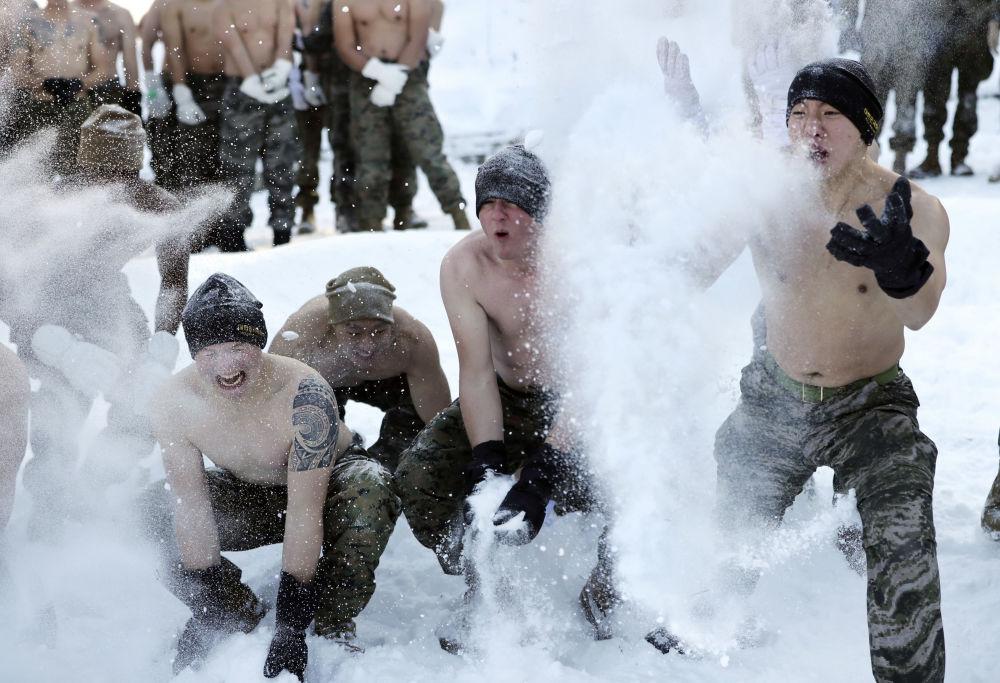 Des marines  sud-coréens et américains lors des entraînements conjoints en Corée du Sud