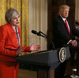 La première-ministre britannique Theresa May et le présdent américain Donqld Trump