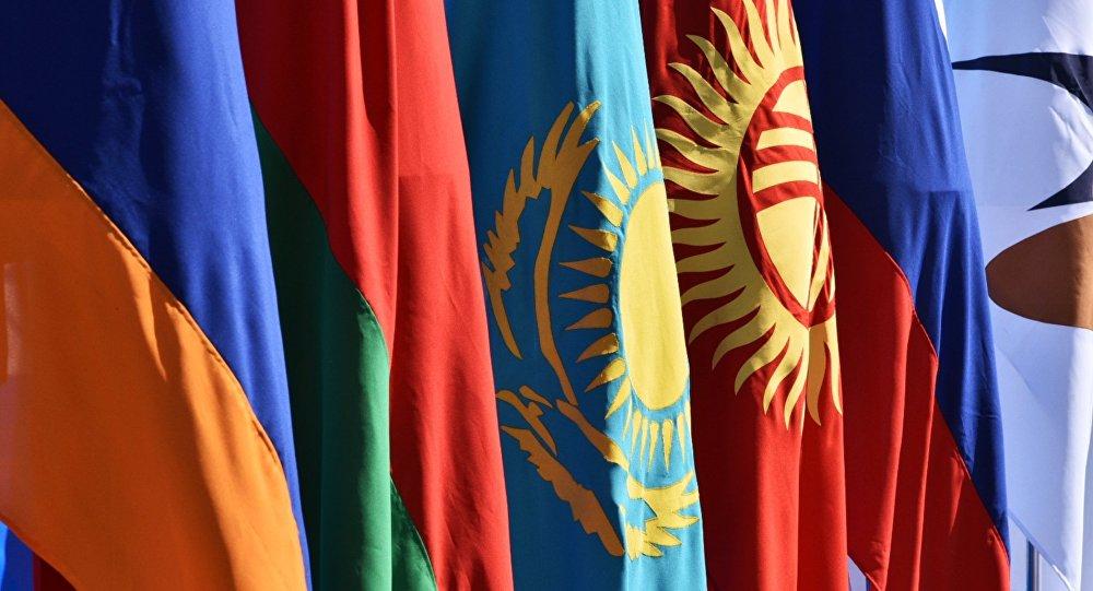 Les drapeaux des états membres de l'Union économique eurasiatique