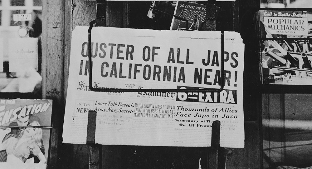 À la une du journal californien San Francisco Examiner (février 1942).
