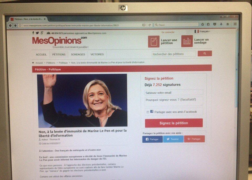 Pétition en faveur de Marine Le Pen