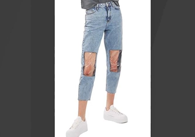 clear knee mom jean
