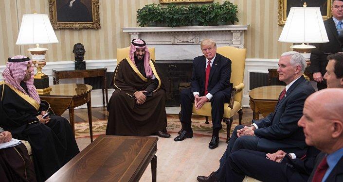 la rencontre du président américain Donald Trump avec le vice-prince héritier du trône saoudien Mohammed ben Salmane